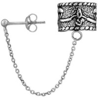 Sterling Silver Ear Cuff Earring (one piece) with Ball Stud and Chain