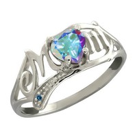 1.13 Ct Heart Shape Mercury Mist Mystic Topaz and Diamond Sterling Silver Ring
