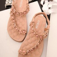 Cute Flowers Embellished Flat Sandals 060511