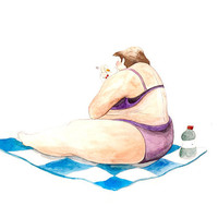 On The Beach IV. Watercolor Illustration Print Woman Checked Blanket Swimsuit Cigarette Summer