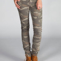 Hippie Laundry Camo Womens Skinny Pants Camo Green  In Sizes