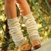Crochet Leg Warmers in Vanilla Bean by Mademoiselle Mermaid | MademoiselleMermaid - Accessories on ArtFire