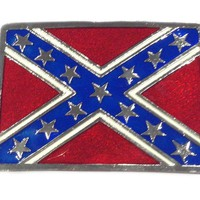 Brackney Leather Rebel Flag Rectangle Belt Buckle Accessories Belt Buckles at Broken Cherry