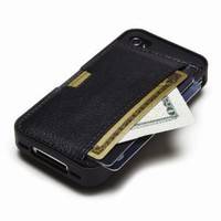 CM4 Q4-BLACK iPhone Wallet Card Case for iPhone 4/4s - 1 Pack - Retail Packaging - Black