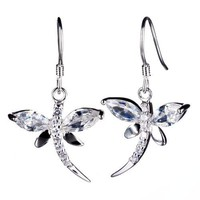 Elegant Dragonfly Clear Crystal 925 Sterling Silver Jewelry Animal Earrings