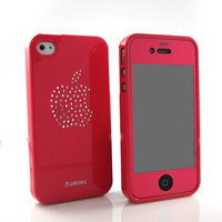 New Hot-Pink swarovksi silicone case cover+Hot Pink film for iPhone 4 4S