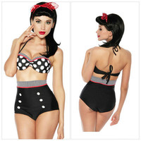 Cutest Retro Swimsuit Swimwear Vintage Pin Up High Waist  Bikini Set SZ S/M/L/XL