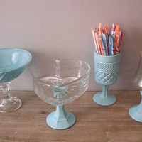 4 pc upcycled Tiffany Blue Wedding candy buffet dishes ... pedestal bowls  Apothecary jar heart and Fleur De Lis