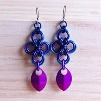 Turquoise purple Japanese Cross Earrings with chainmaille scales