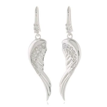 Chuvora Sterling Silver Cubic Zirconia CZ Angel Wings Dangle Earrings 5 cm