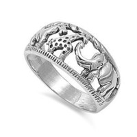 Sterling Silver 10mm Elephant Giraffe Ring (Size 5 - 10):Amazon:Jewelry