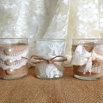 burlap and lace covered 3 piece 10 hour Votive tea candles, wedding ...