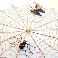 Large Spiders Web With Butterfly and Spider Handmade