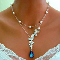 BERMUDA BLUE PEACOCK ORCHID Double Strand Necklace Wedding Bridal | Vivian-Feiler-Designs - Jewelry on ArtFire