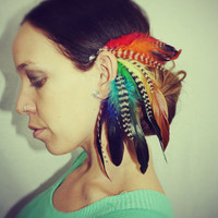 Handmade Rainbow Feather Ear Cuff, Earring,Grizzly Feathers, Colorful, Festival,Hippie, Bohemian, Tribal, Aztec