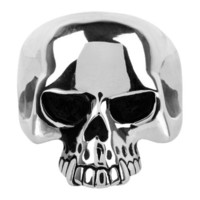 Men's Skull Ring with a Smooth Polished Finish - Size 13