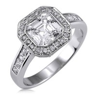 Sterling Silver Asscher Cubic Zirconia CZ Ring - Women's Engagement Wedding Ring Size 6