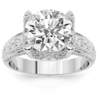 18K White Gold Diamond Engagement Ring 4.12 Ctw