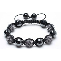 Bling Jewelry Smooth Round Hematite with Grey Swarovski Balls Shamballa Bracelet 12mm