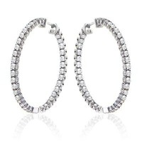 2.75 Ct. TW Round Diamond In/Out Hoop Earrings in 14k White Gold