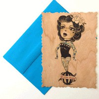 Wooden Postcard – Tattoo Lady Victorian Cut Print | Thirteen Vintage