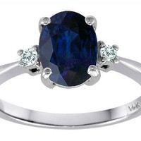 1.54 cttw Tommaso Design(tm) Genuine 8x6mm Oval Sapphire and Diamond Engagement Ring in 14 kt White Gold Size 7