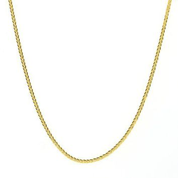 14k Yellow Gold .7mm Diamond Cut Wheat Chain Necklace, 20""
