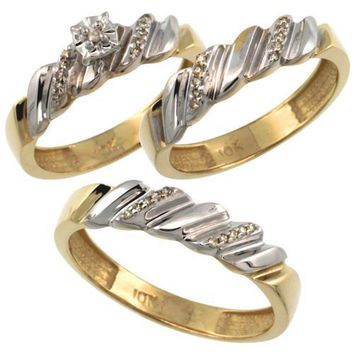 10k Gold 3-Pc. Trio His (5mm) & Hers (5mm) Diamond Wedding Ring Band Set, w/ 0.20 Carat Brilliant Cut Diamonds (Men's Sizes 8 to 14), Ladies' Size 7