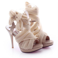 High Heel Chiffon Lace Up Sandals for Women 061626