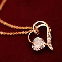 Zircon peach heart necklace