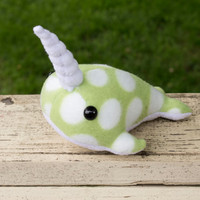 Narwhal Plush in Green with Polka Dots - Large