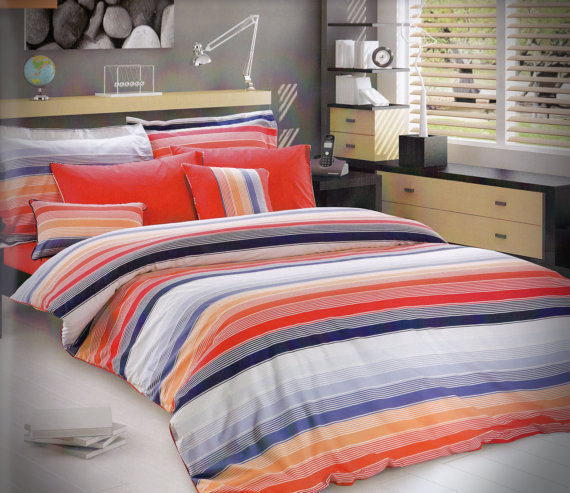 Custom queen or full size coral red navy from myveralinen on - Navy blue and orange bedding ...