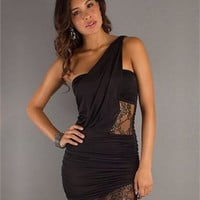 One-shoulder Slim-line open back black Mini with Embroidery Prom Dress PD0263