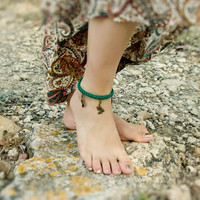 Emerald green dragon charm anklet. Crochet ankle bracelet. Sexy feet  jewelry