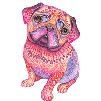 Pug, dog, animal art print, Pugberry, size 8x10, LIMITED EDITION 2/100 (No. 56)