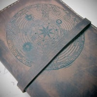 Leather journal or sketchbook featuring  free personalization zodiac