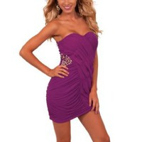 Amazon.com: Strapless Sweetheart Asymmetrical Formal Evening Cocktail Party Mini Dress: Clothing