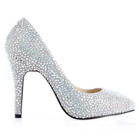 Bqueen Fancy Color Diamonds Sheepskin Pumps D063S - Designer Shoes|Bqueenshoes.com