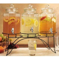 Home Essentials 1876 Vintage Hammered Jug Beverage Dispenser With Rack, Set Of 3