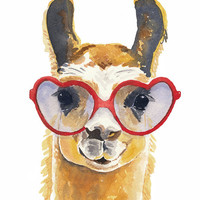 Llama Watercolour PRINT Watercolor Painting by WaterInMyPaint