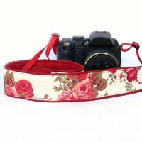 dSLR Camera Strap with roses. White and Red Camera Strap. Floral Camera Strap. Women accessories