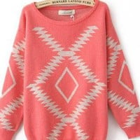 Light Red Vintage Diamond Sweaters