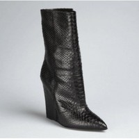 Giuseppe Zanotti snakeskin textured leather wedge boots