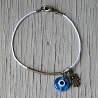 Evil Eye Bracelet : Pure White Cotton Bracelet with Bright Blue Evil Eye and Hamsa Hand Charms, Bronze Bar Bracelet