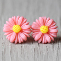 Fake Plugs : Bright Pink and Yellow Daisy Flower Stud Earrings, Sterling Silver Plated Earring Posts, ArtisanTree, 12mm