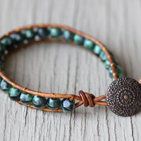 Wrap Bracelet : Green and Black Beaded Bohemian Friendship Cuff, Floral Antique Bronze Button Closure, Adjustable