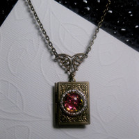 Chameleon Galaxy Stone Book Locket In Bronze