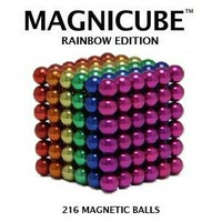 Magnicube Magnet Balls Rainbow Edition {Red, Orange, Yellow, Green, Blue, Purple} 216 Piece Magnetic Puzzle (Tin Gift Set)