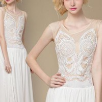 sleeveless chiffon embroidered white dress