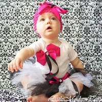 Black White and hot Pink Couture Infant Set by LittleMadamtutu